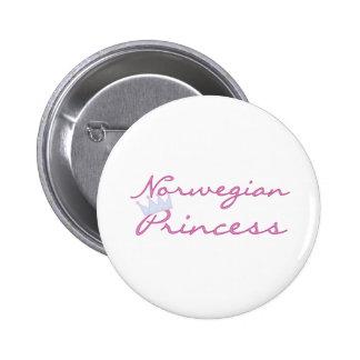 Princesa noruega pin redondo de 2 pulgadas