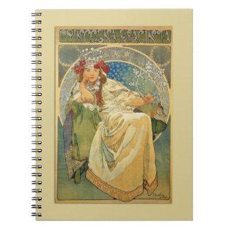 Princesa Notebook de Nouveau del arte del vintage Libros De Apuntes Con Espiral