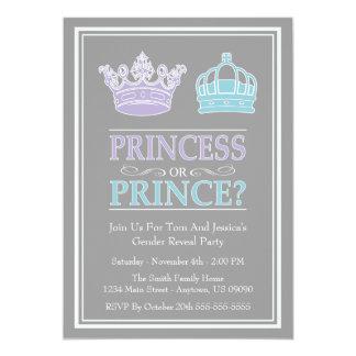 Princesa o príncipe Gender Reveal Party Invitación 12,7 X 17,8 Cm