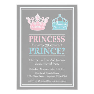 "Princesa o príncipe Gender Reveal Party Invitación 5"" X 7"""