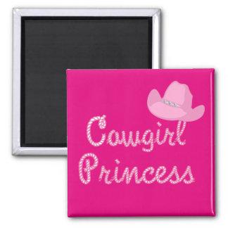Princesa occidental With Pink Hat de la vaquera Imán Cuadrado