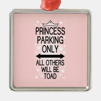 Princesa Parking Only Adorno Navideño Cuadrado De Metal