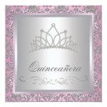 Princesa Party del rosa de la tiara del diamante Invitación 13,3 Cm X 13,3cm