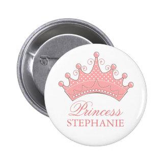 Princesa Party Personalized Crown Button Pin Redondo De 2 Pulgadas