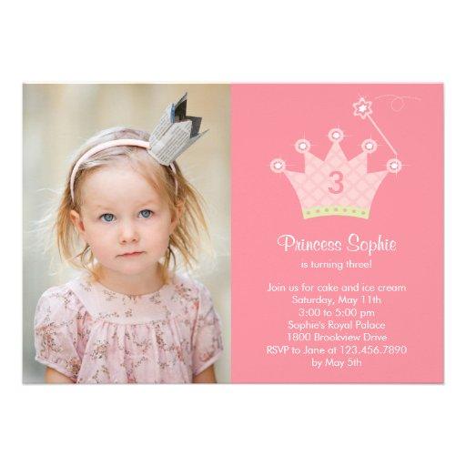 Princesa Party Photo Birthday Invitation Anuncio Personalizado