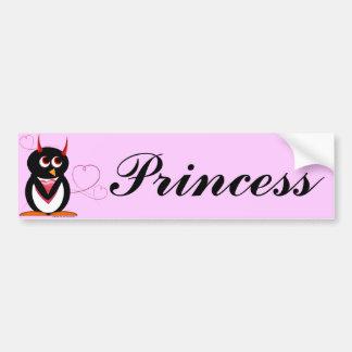 Princesa pegatina para el parachoques del pingüino pegatina de parachoque