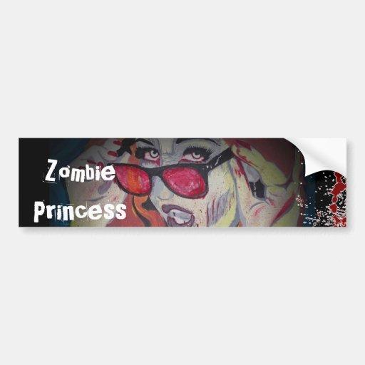 Princesa pegatina para el parachoques del zombi pegatina para auto