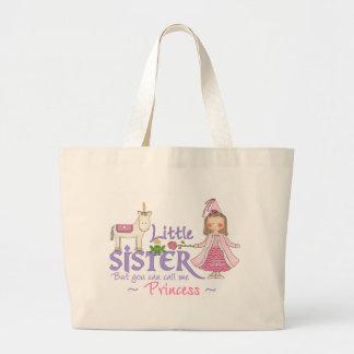 Princesa pequeña hermana del unicornio bolsa tela grande