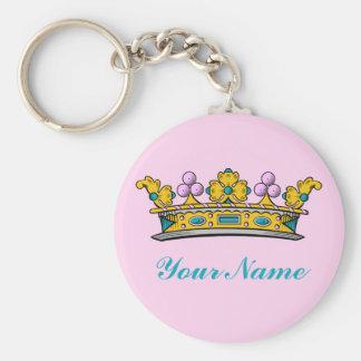 Princesa personalizada Crown en rosa Llavero Redondo Tipo Pin