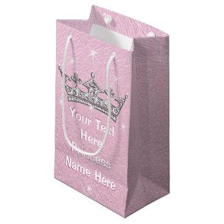 Princesa personalizada nacarada rosada Gift Bags Bolsa De Regalo Pequeña