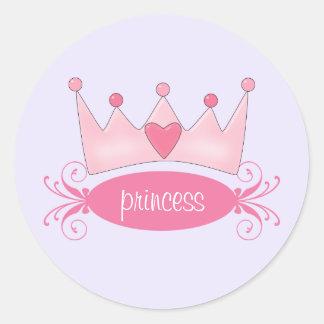 Princesa personalizada Tiara Stickers Etiquetas Redondas