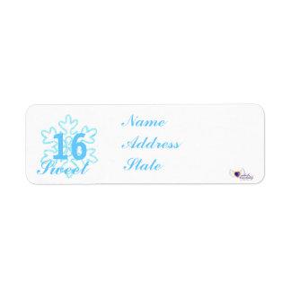 Princesa-Personalizar Nevado del dulce dieciséis Etiqueta De Remitente