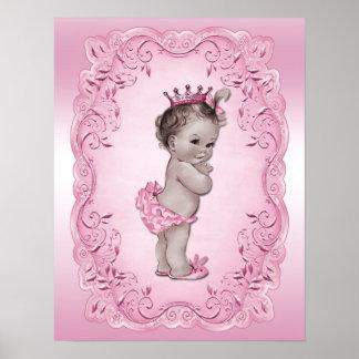 Princesa Pink del bebé del vintage Poster
