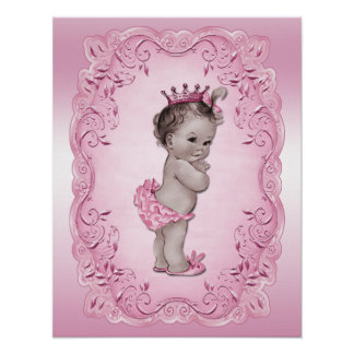 Princesa Pink del bebé del vintage Póster