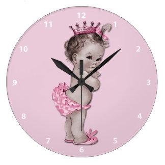 Princesa Pink del bebé del vintage Reloj Redondo Grande