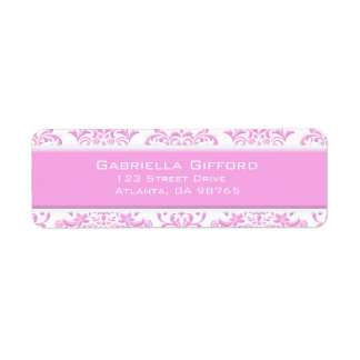Princesa Pink Floral Damask Etiquetas De Remite