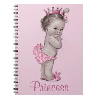Princesa Pink Personalized del bebé del vintage Libreta