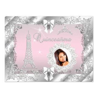 """Princesa Pink Quinceanera Silver Photo GRANDE Invitación 6.5"""" X 8.75"""""""
