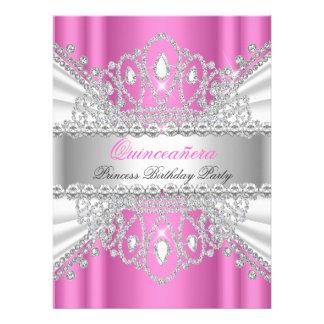 Princesa Pink White Diamond Tiara de Quinceanera Invitaciones Personales