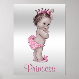 Princesa Pink y plata del bebé del vintage Póster
