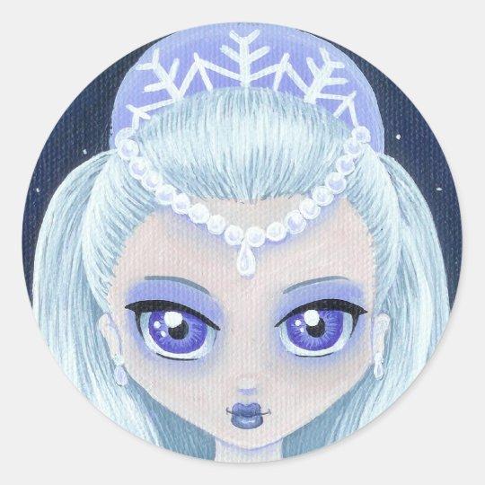 Princesa Portrait Sticker del invierno Pegatina Redonda