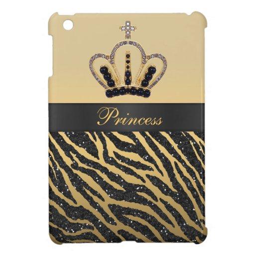 Princesa Printed Crown del oro y brillo de la cebr iPad Mini Coberturas