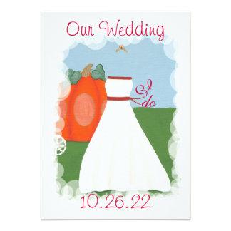 """Princesa Pumpkin Wedding Invitations, Invitación 5"""" X 7"""""""