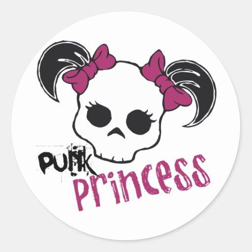 Princesa punky pegatina redonda