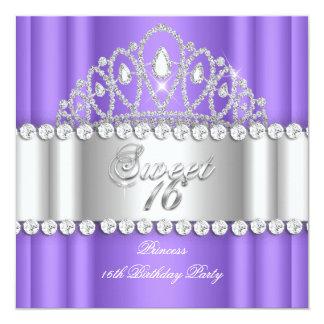 Princesa Purple White Diamond Tiara del dulce 16 Invitación 13,3 Cm X 13,3cm