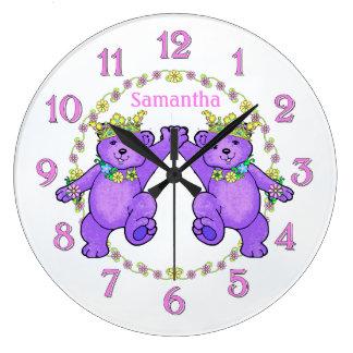Princesa púrpura Bears Birthday Reloj Redondo Grande