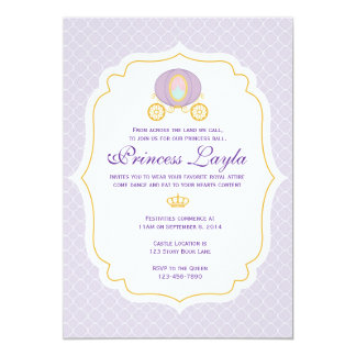 "Princesa púrpura Birthday Invitation Invitación 5"" X 7"""