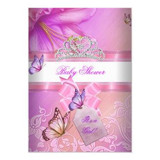 """Princesa púrpura Butterfly 2 del rosa del chica de Invitación 5"""" X 7"""""""