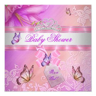 Princesa púrpura Butterfly del rosa del chica de Invitación 13,3 Cm X 13,3cm