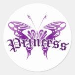 Princesa púrpura de la mariposa etiqueta redonda