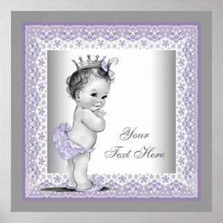 Princesa púrpura de la niña de la lavanda del vint posters