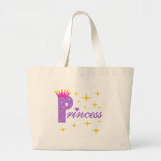 Princesa púrpura del texto bolsa tela grande