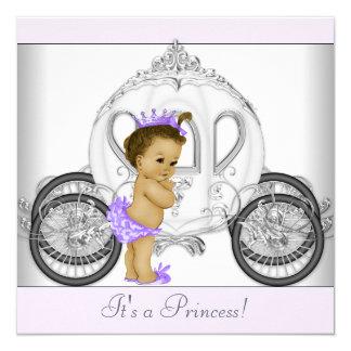 Princesa púrpura fiesta de bienvenida al bebé de invitación 13,3 cm x 13,3cm