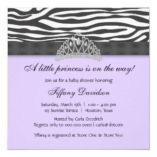 """Princesa púrpura fiesta de bienvenida al bebé de invitación 5.25"""" x 5.25"""""""