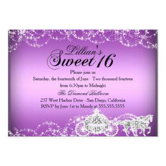"""Princesa púrpura Sweet 16 del carro del caballo Invitación 5"""" X 7"""""""