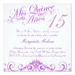 Princesa púrpura Tiara Quinceanera Invitation Anuncio Personalizado