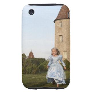 Princesa que corre en el jardín del castillo tough iPhone 3 protectores
