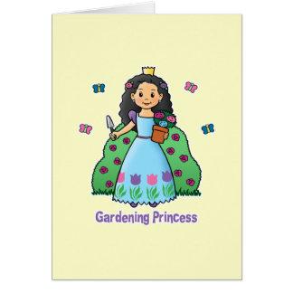 Princesa que cultiva un huerto tarjeta de felicitación