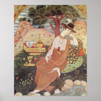 Princesa que se sienta en un jardín, dinastía de S Impresiones