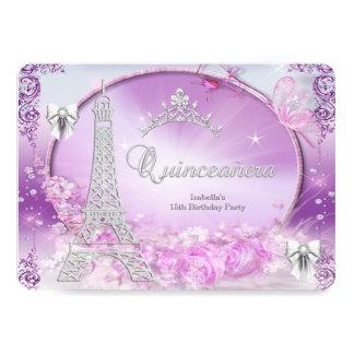 """Princesa Quinceanera Magical Purple Silver Invitación 5"""" X 7"""""""