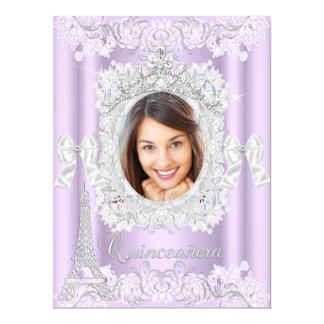 Princesa Quinceanera Purple Lace Photo grande Invitación 16,5 X 22,2 Cm