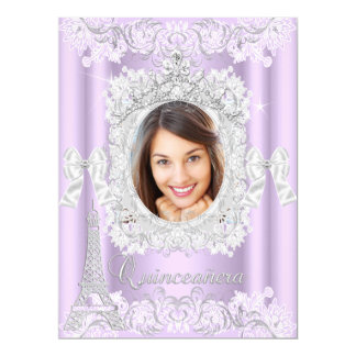 """Princesa Quinceanera Purple Lace Photo grande Invitación 6.5"""" X 8.75"""""""