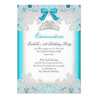 Princesa Quinceanera Teal Blue Lace Invitación 12,7 X 17,8 Cm