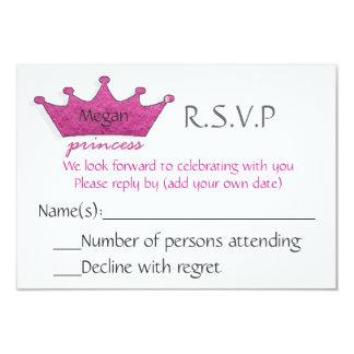 """Princesa R.S.V.P Invitación 3.5"""" X 5"""""""