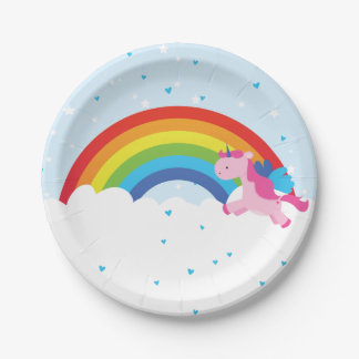 Princesa Rainbow del unicornio Platos De Papel