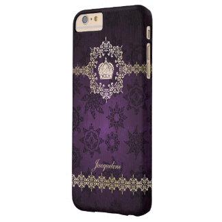 Princesa real Crown Damask Name Initials de la Funda Barely There iPhone 6 Plus
